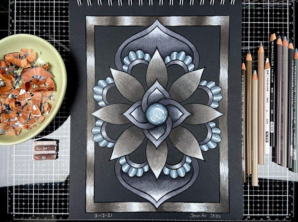 Mandala Coloring Session Gray on Black