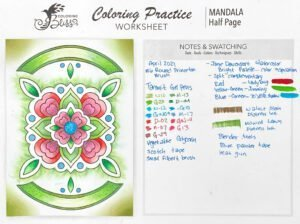 Mixed-Media Coloring Lesson 3 Mandala Colored with Notes