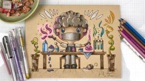 Chibi Alchemist on Tan Paper