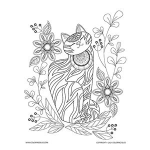 Flower Doodle Cat