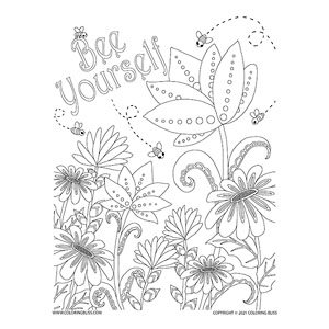 Bee Yourself - Bees & Flowers Coloring Page