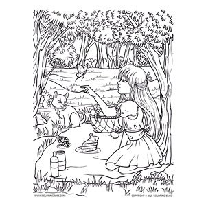 Girl on a Picnic with Cat and Butterfly
